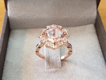 "Load image into Gallery viewer, 3.5 Carat 14K Rose Gold Morganite & Diamonds ""Cathleen"" Engagement Ring"