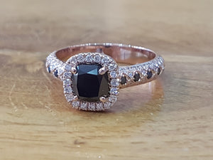 "1.5 Carat 14K Yellow Gold Black Diamond ""Beatrice"" Engagement Ring"