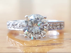 1.5 TCW 14K White Gold Diamond Engagement Ring