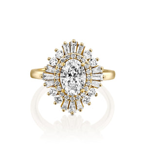 "1.75 Carat 14K White Gold Oval Moissanite & Diamonds ""Gatsby"" Engagement Ring"