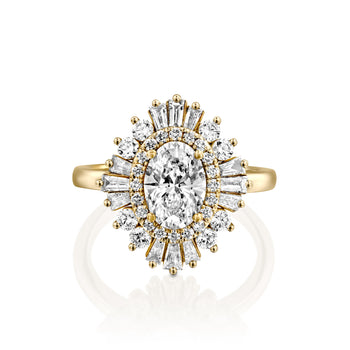 1.75 Carat 14K Yellow Gold Oval Moissanite & Diamonds