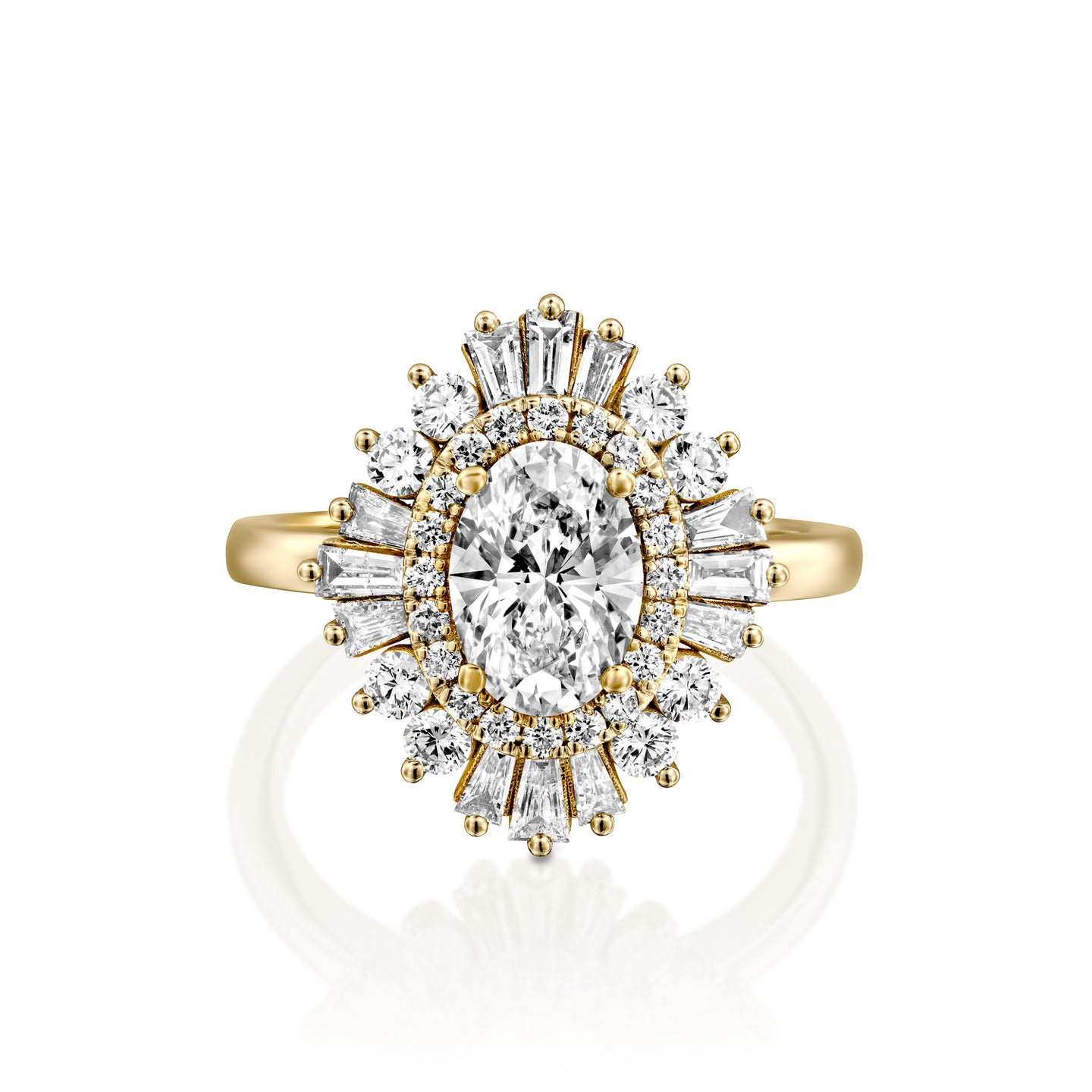 1.5 Carat 14K Yellow Gold Oval Diamond