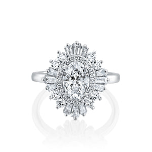 1.75 Carat 14K White Gold Oval Moissanite & Diamonds