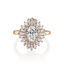 "Load image into Gallery viewer, 1.75 Carat 14K Rose Gold Oval Moissanite & Diamonds ""Gatsby"" Engagement Ring"