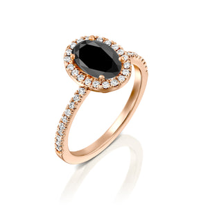 "2 Carat 14K Rose Gold Black Diamond ""Mika"" Engagement Ring"