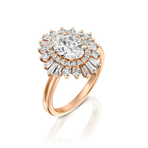 "2 Carat 14K Rose Gold Oval Diamond ""Gatsby"" Engagement Ring"
