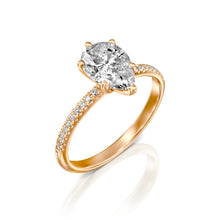 "Load image into Gallery viewer, 2.3 Carat 14K Yellow Gold Moissanite & Diamonds ""Lucy"" Engagement Ring"