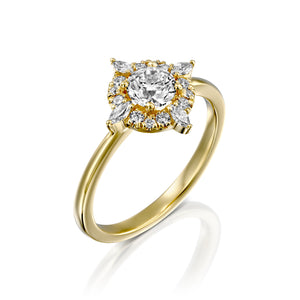 "0.9 Carat 14K Rose Gold Moissanite & Diamonds ""Daisy"" Engagement Ring"