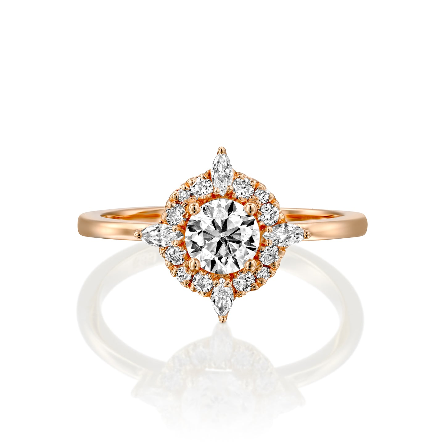 0.9 Carat 14K Rose Gold Moissanite & Diamonds