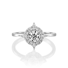 "Load image into Gallery viewer, 1 Carat 14K Yellow Gold Moissanite & Diamonds ""Daisy"" Engagement Ring"