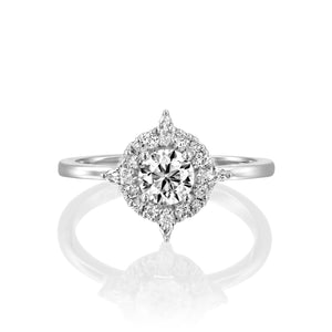 "1 Carat 14K Yellow Gold Moissanite & Diamonds ""Daisy"" Engagement Ring"
