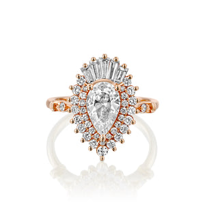 "1.75 CTW 14K Yellow Gold  Pear Moissanite ""Gatsby"" Engagement Ring"