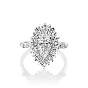 "1.75 Carat 14K White Gold Pear Moissanite & Diamonds ""Gatsby"" Engagement Ring"