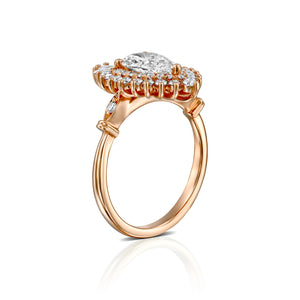 "1.75 Carat 14K Yellow Gold Pear Moissanite & Diamonds ""Gatsby"" Engagement Ring"