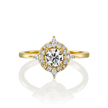"Load image into Gallery viewer, 0.9 Carat 14K Rose Gold Moissanite & Diamonds ""Daisy"" Engagement Ring"