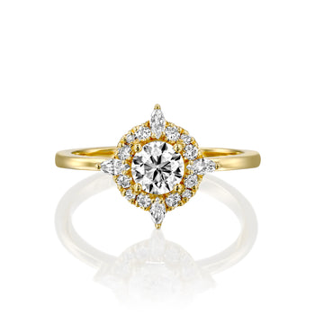 1 Carat 14K Yellow Gold Moissanite & Diamonds