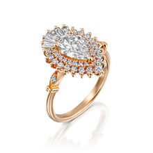 "Load image into Gallery viewer, 1.75 Carat 14K Yellow Gold Pear Moissanite & Diamonds ""Gatsby"" Engagement Ring"