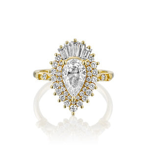 "1.75 TCW 14K Yellow Gold Pear Diamond ""Gatsby"" Engagement Ring"
