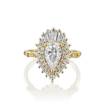 1.75 Carat 14K Yellow Gold Pear Moissanite & Diamonds