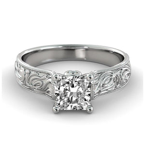 Vintage Engraved Diamond Ring - Diamonds Mine