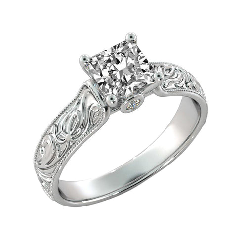 Hand Engraved Antique Moissanite Ring - Diamonds Mine