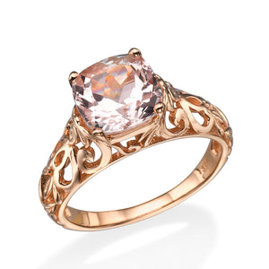 "2 Carat 14K Rose Gold Morganite ""Adele"" Engagement Ring - Diamonds Mine"