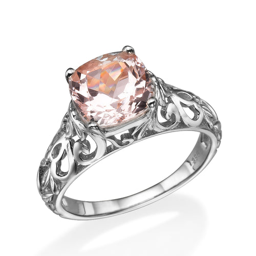 "2 Carat 14K White Gold Morganite ""Adele"" Engagement Ring - Diamonds Mine"