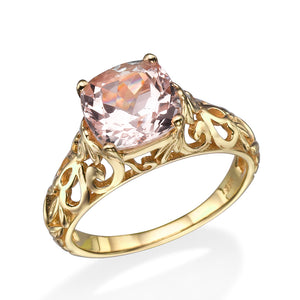 "2 Carat 14K Rose Gold Morganite ""Adele"" Engagement Ring 