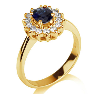 Oval Blue Sapphire Engagement Ring - Diamonds Mine