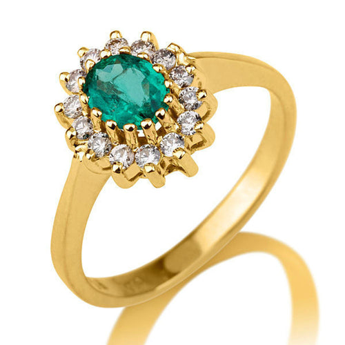 Oval Emerald and Diamond Engagement Ring - Diamonds Mine