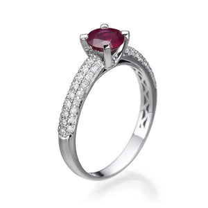 Gold Ruby and Diamond Engagement Ring - Diamonds Mine