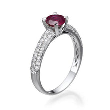Load image into Gallery viewer, Gold Ruby and Diamond Engagement Ring - Diamonds Mine