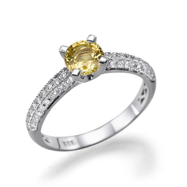 1 Carat 14K White Gold Yellow Sapphire & Diamonds