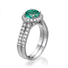 Load image into Gallery viewer, Emerald and Diamond Halo Ring - Diamonds Mine