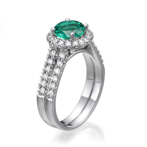 Emerald and Diamond Halo Ring - Diamonds Mine