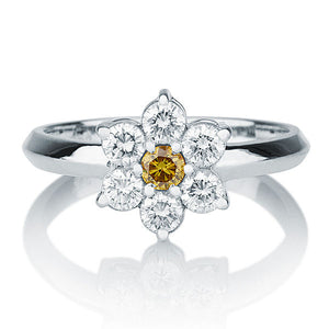 Diamond Flower Engagement Ring - Diamonds Mine