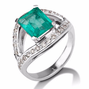 Unique Emerald Gemstone Diamonds Accented Ring - Diamonds Mine