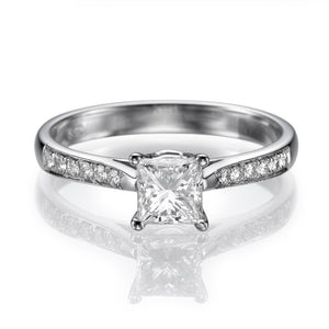 "1.1 Carat 14K White Gold Moissanite & Diamonds ""Helen"" Engagement Ring"