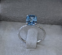 Load image into Gallery viewer, 12X9MM 14K White Gold Aquamarin Engagement Ring