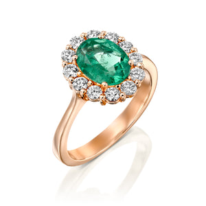 "1.5 Carat 14K Rose Gold Emerald  ""Olivia"" Engagement Ring"