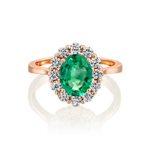 "Load image into Gallery viewer, 1.5 Carat 14K Rose Gold Emerald  ""Olivia"" Engagement Ring"
