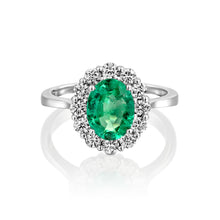 "Load image into Gallery viewer, 1 Carat 14K White Gold Emerald  ""Olivia"" Engagement Ring"