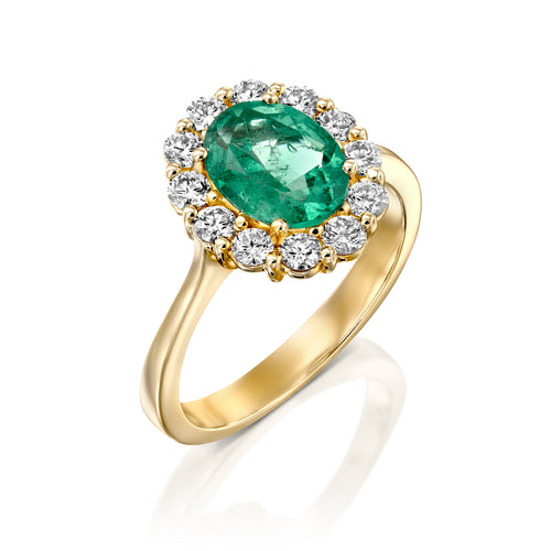 2 Carat 14K Yellow Gold Emerald