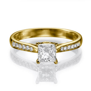 "1.1 Carat 14K White Gold Moissanite & Diamonds ""Helen"" Engagement Ring 