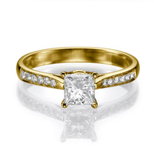 "Load image into Gallery viewer, 1.1 Carat 14K Yellow Gold Moissanite & Diamonds ""Helen"" Engagement Ring"