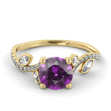 "Load image into Gallery viewer, 1 Carat 14K Yellow Gold Amethyst ""Lucia"" Engagement Ring - Diamonds Mine"