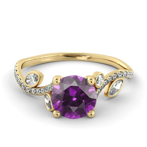 "1 Carat 14K Yellow Gold Amethyst ""Lucia"" Engagement Ring - Diamonds Mine"