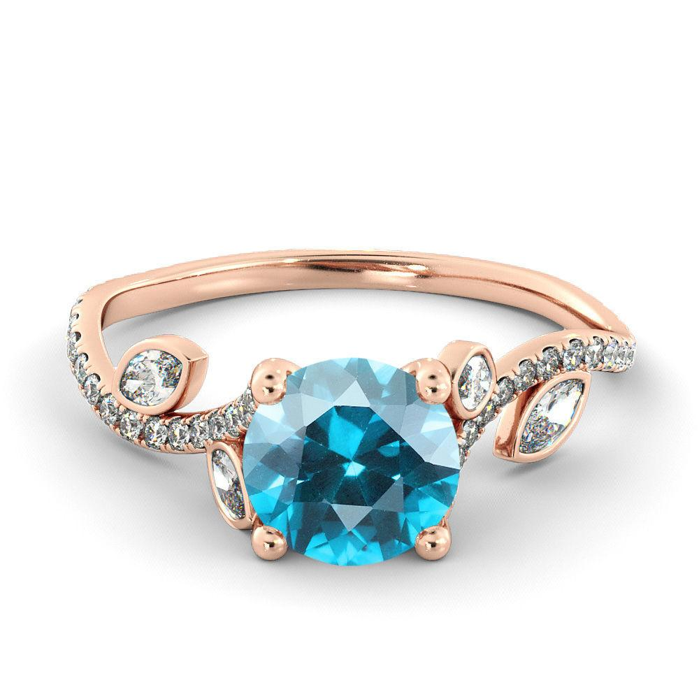 "1 Carat 14K Rose Gold Aquamarine ""Lucia"" Engagement Ring - Diamonds Mine"