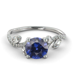 "2 Carat 14K Yellow Gold Blue Sapphire & Diamonds ""Lucia"" Engagement Ring"