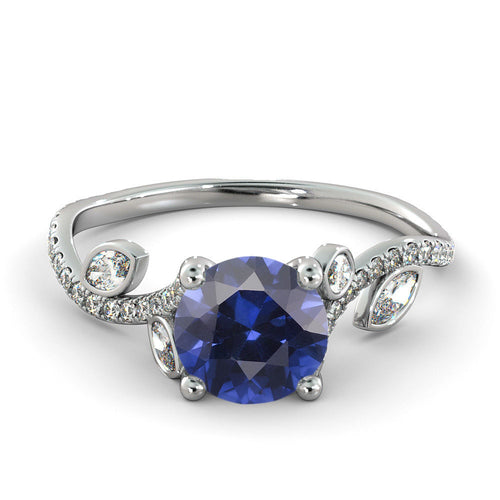 "2 Carat 14K White Gold Blue Sapphire ""Lucia"" Engagement Ring - Diamonds Mine"